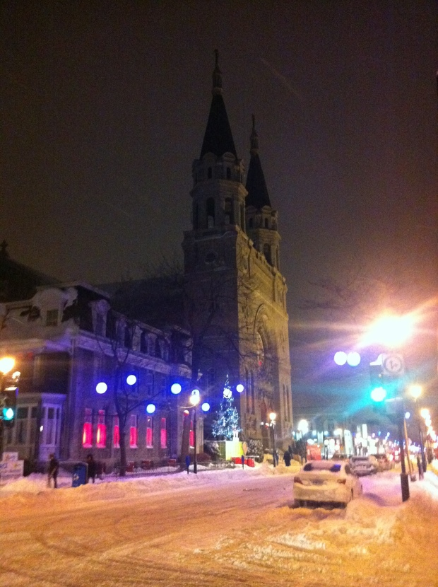 De L'eglise after snowstorm