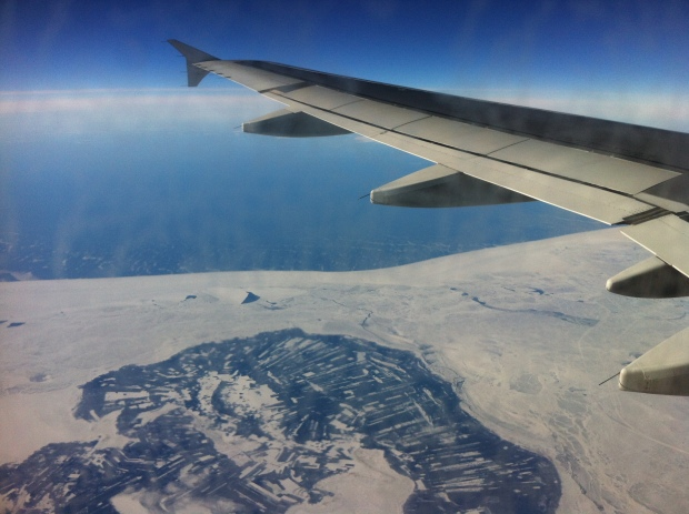 flying from Helsinki to Rovaniemi over ice